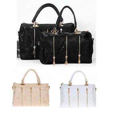Fashion Women's Lady Retro Lace Handbag PU Leather Tote Crossbody Shoulder Bag