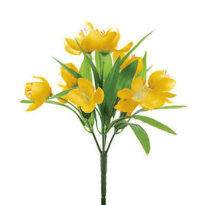 Artificial Silk Crocus Bunch Yellow Fake Flowers 9 Inches