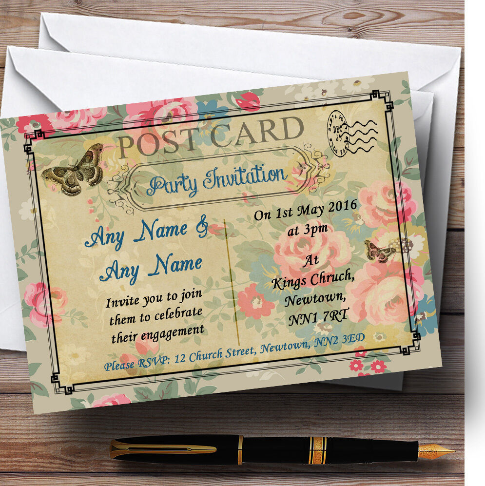 Blau Floral Paris Postcard Personalised Engagement Party Invitations