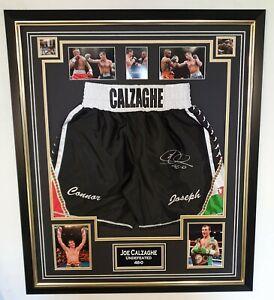 RARE Joe Calzaghe Boxing SIGNED Shorts Trunks Autograph Display *** AFTAL DEALER