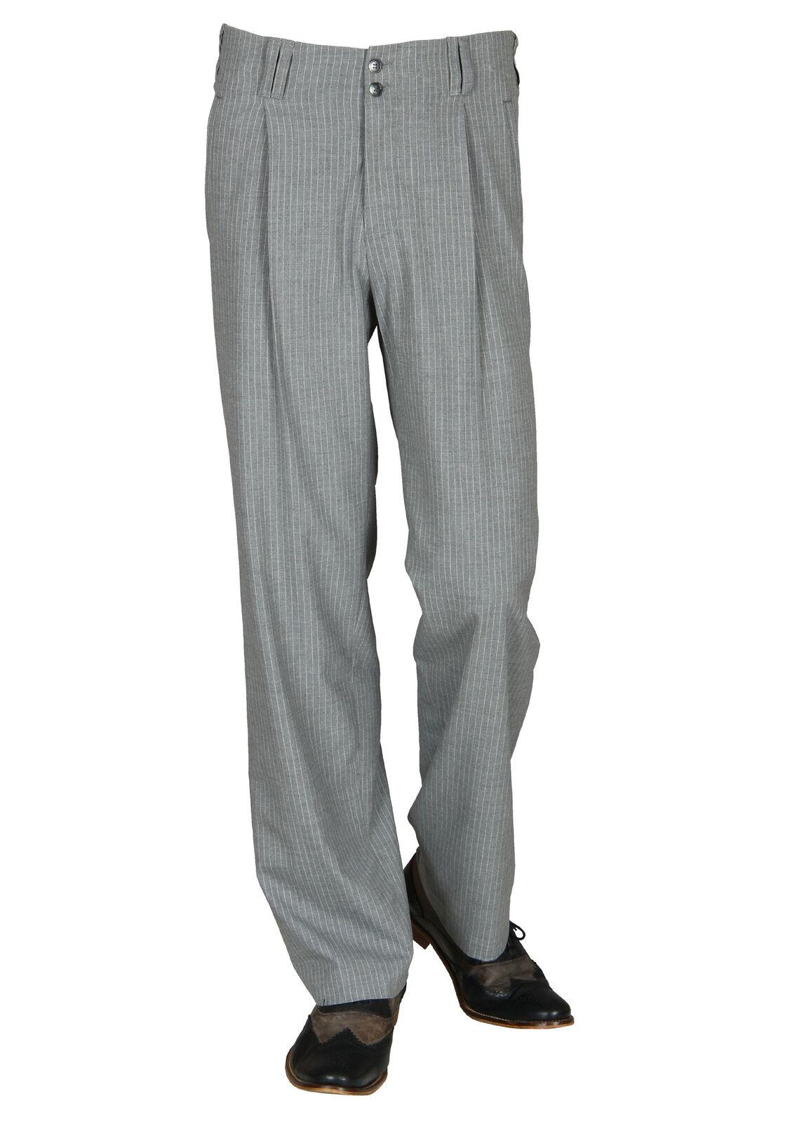 GRIGIO Bianco a Righe pieghe-pantaloni in stile del 50er, 60er anno per uomo nuovi