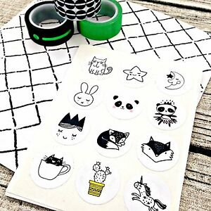 Doodle-stickers-Black-and-white-Black-and-white-doodle-stickers-Stickers