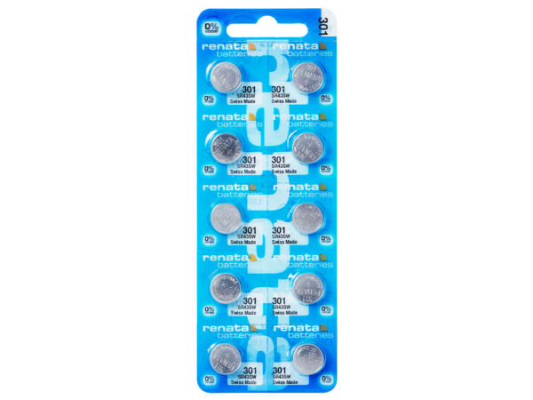10 X Renata 301 Pile Batterie Blister Mercury Free Silver Oxide Sr43sw 1.55v