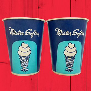 RARE Vintage 1950s 1960s Set of 2 Mister Softee Blue Wax Paper Cups