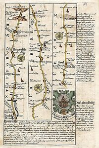 Antique-map-Road-from-London-to-Carlise-in-Cumberland-1