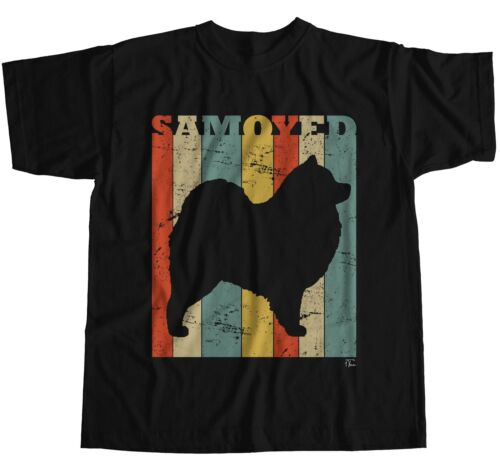 1Tee Mens Samoyed Dog Breed Colourful Retro T-Shirt