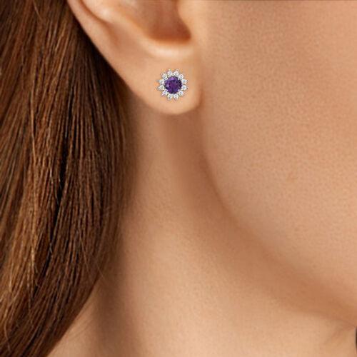 Women Flower Round Amethyst Screw Back Stud Earrings 14K Yellow Gold Finish