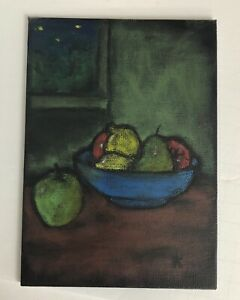 Details About Original Oil Pastel Painting Bowl Of Fruit Still Life Study Art 5x7 Overbeck