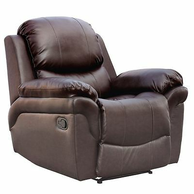 MADISON BROWN REAL LEATHER RECLINER ARMCHAIR SOFA HOME LOUNGE CHAIR RECLINING