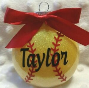 Softball shatterproof personalized Christmas Ornament | eBay