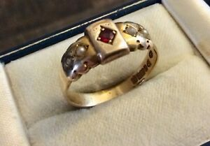Beautiful-Ladies-Antique-1904-Chester-Lovely-Solid-9CT-Ruby-amp-Pearl-Ring-S-1-2