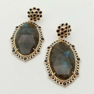 22x33mm-Natural-Labradorite-Faceted-Oval-gold-plated-black-Cz-Pave-stud-Earrings