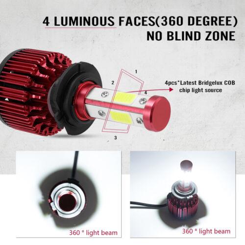 2X CREE H7 4-Sides 1800W 270000LM LED Headlight Kit Hi-Lo Power Bulb 6000K Car