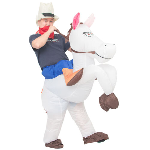 Inflatable Cowboy Costume Adult Men Women Kid Halloween Cosplay Horse Rider Suit
