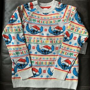 Details about Disney Store Lilo & Stitch Light Up Holiday Christmas Sweater Adult Size Small