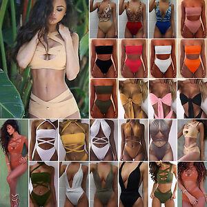 Womens-Summer-Bandage-Swimwear-Swimsuit-Monokini-Push-Up-Bra-Bikini-Bathing-Sets