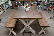 Solid Thick Wood FARMHOUSE TABLE & BENCHES You choose the colour and size