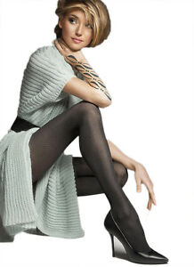 40 Denier Back Seamed Patterned Black Tights Microfibre Semi Opaque Pantyhose,