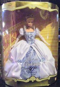 Walt-Disney-039-s-Mattel-Cinderella-50th-Anniversary-Collector-039-s-Doll-New-In-Box