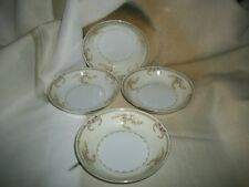 4 Meito China Cream & Floral Pattern Japan 5 inch Berry Bowls