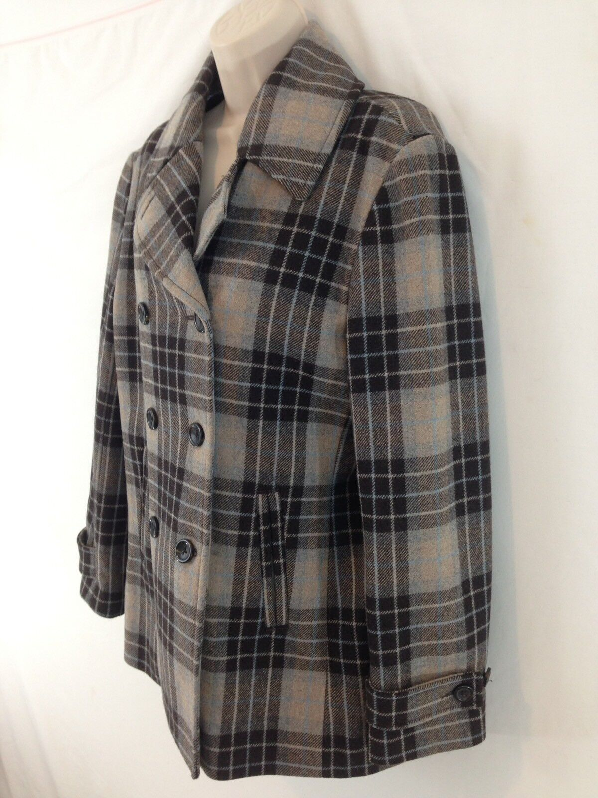 Lands End Womens 10 Brown Plaid Lined Blended Wool Double Breasted Peacoat