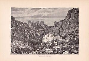 Spain-Spanien-Katalonien-Kloster-Montserrat-Stich-Holzstich-um-1895