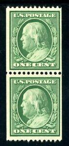 USAstamps-Unused-VF-US-1908-Franklin-Horizontal-Coil-Pair-Scott-348-OG-MNH