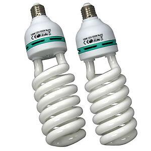 2x 105W 5500K Photography Photo Studio Lighting Light Compact Fluorescent Bulb