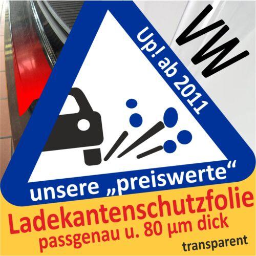 Ladekantenschutz Folie VW Up ab 11//2011 Lackschutzfolie klar transparent