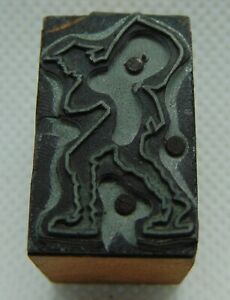 Vintage Printing Letterpress Printers Block Silhouette Of A Person Making Things Convenient For The People Type, Cuts & Printing Blocks Business & Industrial
