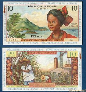 Antilles Französisch – 10 Franken 1964 B.7 57810 Guyana Guadeloupe Martinique