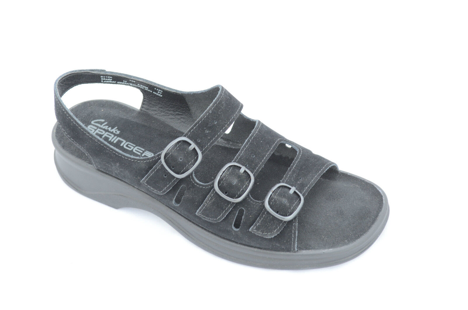 Clarks Wouomo Wouomo Wouomo Carrie May Sandal nero Leather 7M 2d7672