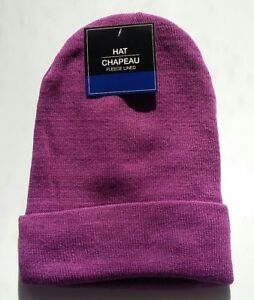 7540be5d Details about PURPLE FLEECE LINED Mens Womens KNIT CUFF Beanie Hat Watch  Cap Warm Winter NWT