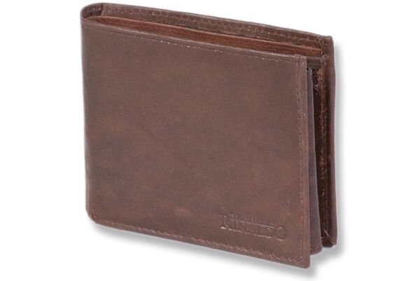 + Geldbörse HERRENGELDBÖRSE Naturbelassenes Rindsleder d'braun 4550607