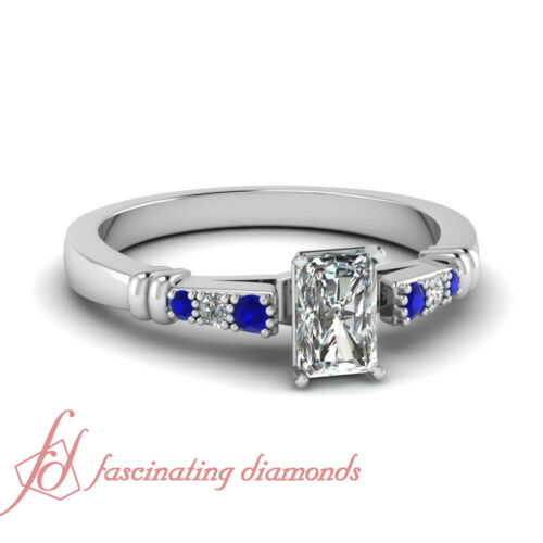 Round Blue Sapphire Cathedral Engagement Ring 0.60 Ct Radiant Cut VS1 Diamond