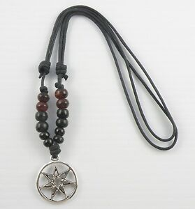 Boho beaded surfer necklace with an heptagram septagram pendant image is loading boho beaded surfer necklace with an heptagram septagram aloadofball Choice Image