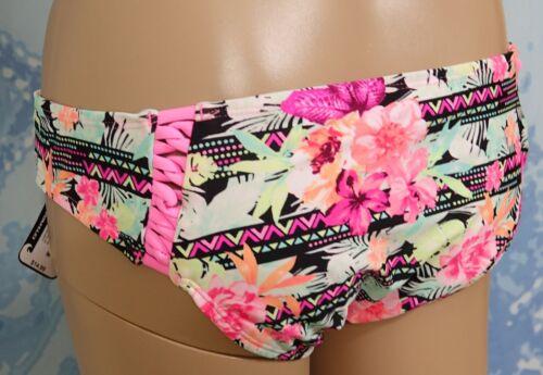 O/'RAGEOUS multi pink floral with binding sides swim bikini bottom,junior M or L