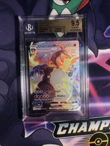 Pokemon BGS 9.5 Charizard Vmax Shining Fates Shiny Vault Full Art SV107/SV122