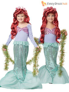 Girls-Deluxe-Little-Mermaid-Costume-Child-Book-Week-Fancy-Dress-Outfit-Fairytale