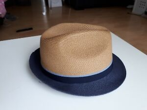 MARKS-AND-SPENCER-NAVY-AND-TAN-SUN-BOWLER-DERBY-HAT-SIZE-LARGE