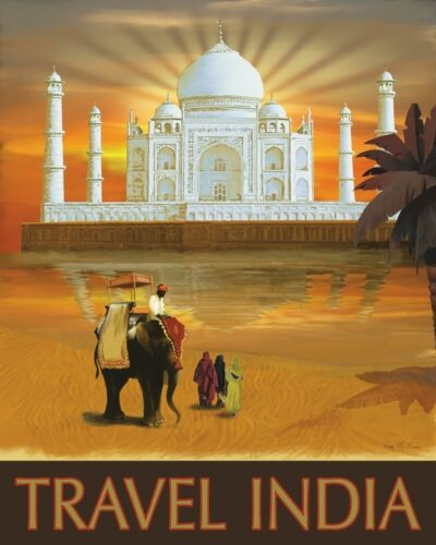 Poster 30x24 Travel India by Kem McNair VINTAGE TRAVEL ART PRINT