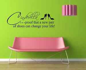 Cinderella-new-shoes-Wall-Sticker-wall-Quote-wall-Mural-Decal