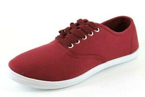 ASOS Unisex UK 7 Burgundy Canvas Lace Up Casual Plimsolls Pumps Shoes Trainers