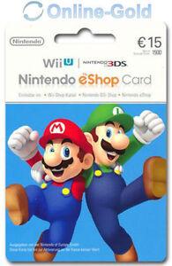 Nintendo eShop card 15 euro Nintendo Digital Key código 3DS/WiiU/Conmutador ES