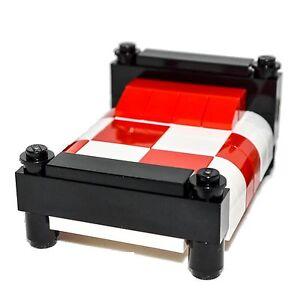 Lego Furniture Black Bed White Red Bedding Custom Professional