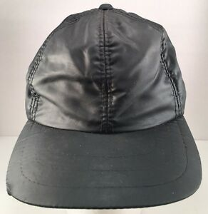 Vintage Black Nylon Insulated Baseball Hat Cap with Ear Flaps Size ... 6b2d329e6b3