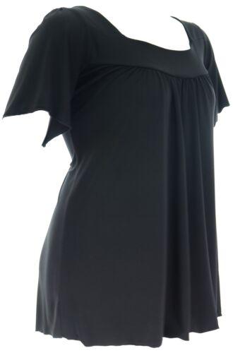 Womens 16-26 Gorgeous Stretch Black Tunic Top Cap Sleeve Square Neck UK