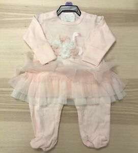 Biscotti-Baby-Girls-Footie-Romper-Coverall-Light-Pink-Swan-NWT