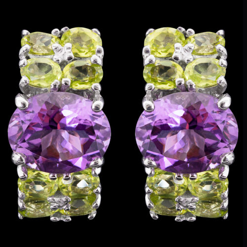 100/% NATURAL 9X7MM AFRICAN AMETHYST /& AAA PERIDOT STERLING SILVER 925 EARRING