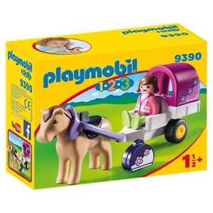 Playmobil-123-caballo-Dibujado-Carro-edificio-Set-9390-nuevo-en-la-accion